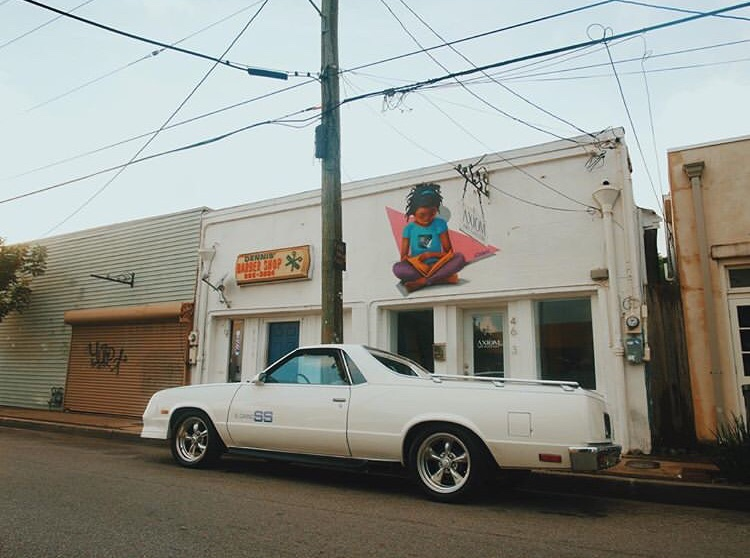 Chevy El Camino SS in front of Axiom Art Gallery by Visionary Barnes